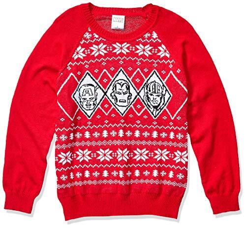 Marvel Men's Ugly Christmas Sweater, Avengers/Red, Large