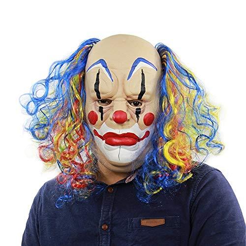 Tanxinxing Halloween-Maske Curly Bald Clown Halloween Prom Outlet Formance Props Horror Geist Lustige Latex-Maske