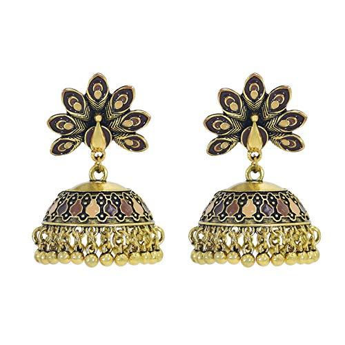 XKMY Jewelry Boho Vintage Pendientes étnicos grandes colgantes para mujer (color de metal: CF)