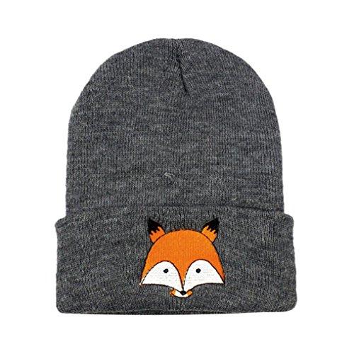 Lenfesh Baby Kinder Baumwolle Fuchs Hüte, Jungen Mädchen Gestrickter Winter Warm Mützen (Dunkelgrau)