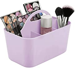 mDesign Plastic Portable Makeup Organizer Caddy Tote, Divided Basket Bin with Handle, for Bathroom Storage - Holds Blush Makeup Brushes, Eyeshadow Palette, Lipstick - Small - Purple