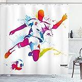 ABAKUHAUS Teen Zimmer Duschvorhang, Fußball Tritt den Ball, mit 12 Ringe Set Wasserdicht Stielvoll Modern Farbfest & Schimmel Resistent, 175x200 cm, Mehrfarbig