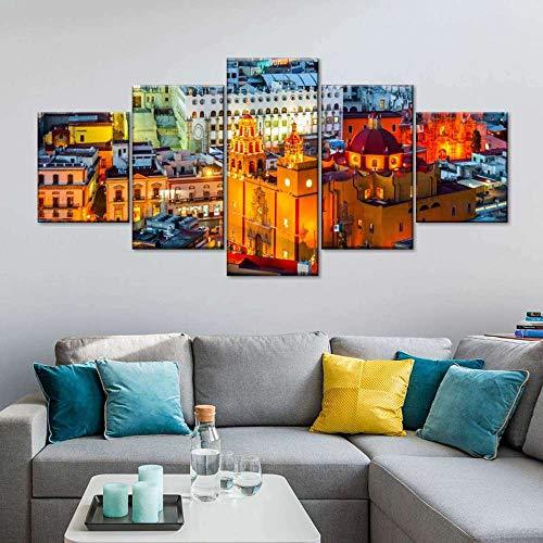 VYQDTNR HD de 5 Piezas con MúLtiples Paneles Ciudad de Guanajuato Póster con Imagen ImpresióN En Lienzo Decoración Moderna para El Hogar Y La Cocina Arte De La Pared, Sin Marco