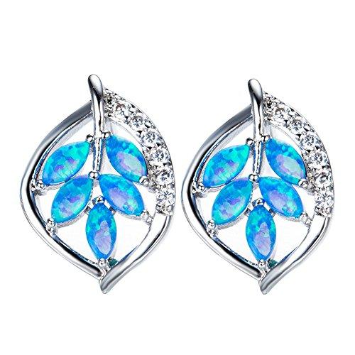 OMZBM Erstellt Opal Blätter Ohrringe Einzigartige Sterling Silber Kleine Ohrstecker Schmuck Frauen Mädchen,Blue