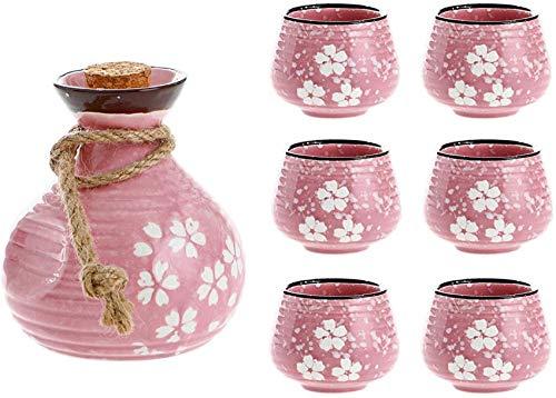 rzoizwko Juego de Sake de cerámica Pintado a Mano 7 Piezas, Incluye 1 Botella de Sake y 6 Tazas, Juego de Sake de Hilo, Kit de Bebida de Saki Caliente de cerámica Japonesa, Rosa