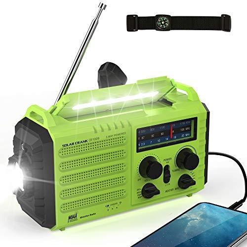 Weather Radio - Rocam Emergency Hand Crank Portable Radio Solar Power AM/FM/SW/NOAA Weather Radio with 2000mAh Power Bank Phone Charger, 3W LED Flashlight, Reading Lamp, 7 Weather Band, SOS Alarm