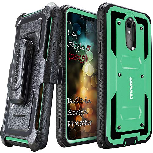 LG Stylo 5 / Stylo 5 Plus/Stylo 5X (2019) Case, COVRWARE [ Aegis Series ] with Built-in [Screen Protector] Heavy Duty Full-Body Rugged Holster Armor Case [Belt Swivel Clip][Kickstand], Teal