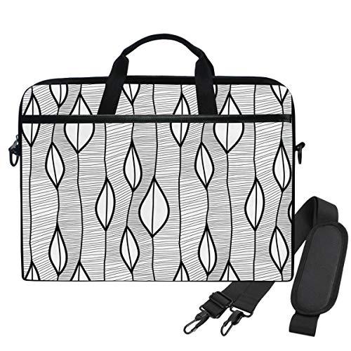 Emoya Laptop-Tasche mit schwarzen Blättern und Wellenlinien für Laptops mit einer Bildschirmdiagonale von 33,8 bis 35,6 cm (13,3 bis 14 Zoll)