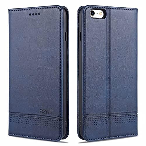 CRABOT Reemplazo para iPhone 6 Plus Funda de Cuero PU Plegable Cartera Cierre Magnético Ranura para Tarjeta,Soporte Plegable Protectora Cover(Azul)