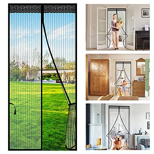 Cortina de Puerta Magnética, Wokkol Mosquitera Puerta Magnética, con Tiras de Almacenamiento en los Lados, Apagado Automático, para Cocina/Sala de Estar/Dormitorio (80x200CM)