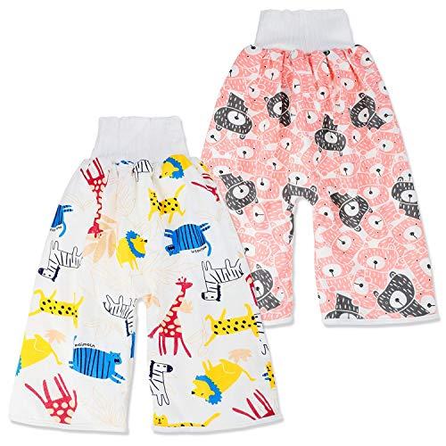 2 Stück Baby Trainingshose Sleepy Windelhose Polster Cotton Potty Underwear Windelunterwäsche, M(0-4T), 1-4 Jahre