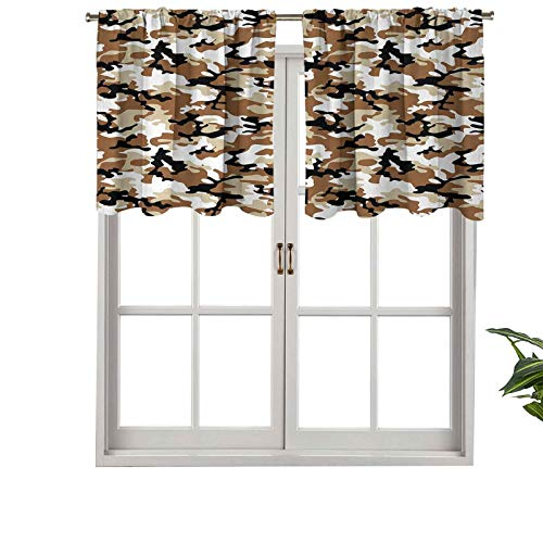 Short Curtains Valance Privacy Protection Abstract Army Military Style in Various Shades of Brown, Set of 2, 42'x36' Window Drapes for Bathroom Kitchen Living Room