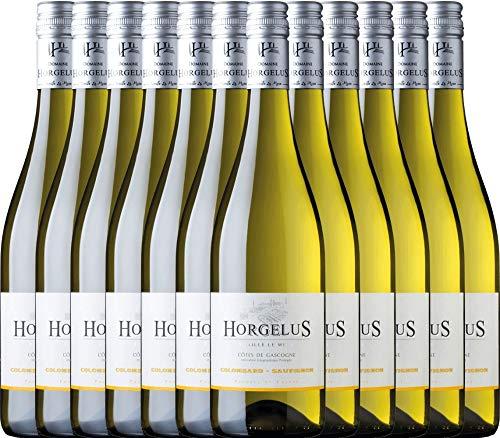 12er Paket - Horgelus Blanc - Domaine Horgelus mi | trockener Weißwein | französischer Sommerwein aus Sud Ouest | 12 x 0,75 Liter