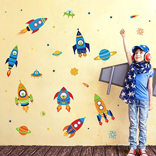 decalmile Pegatinas de Pared Espacio Exterior Cohete Vinilos Decorativos Planeta Estrella Adhesivos Pared Bebés Guardería Habitaciones Infantiles