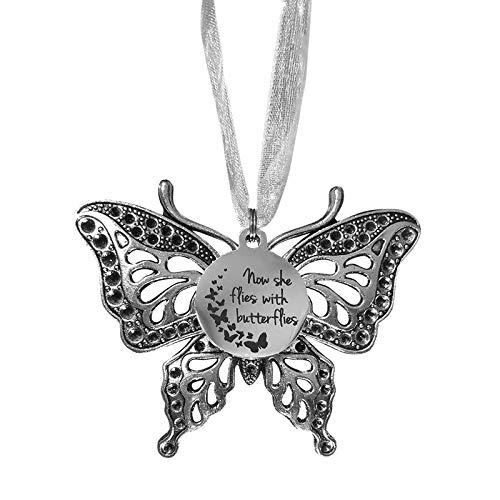 Finetoknow Adornos colgantes de mariposa de Navidad, ahora ella vuela con mariposas, abalorios de...