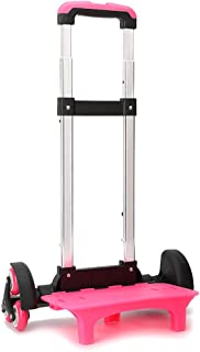 Wheeled Trolley Hand Aluminium Alloy Non-Folding Trolley Cart for Backpack (Pink, 6 Wheels)