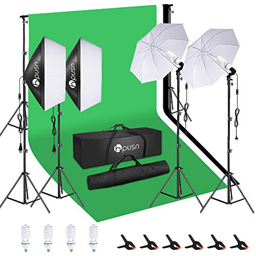 HPUSN Softbox Lighting Kit Studio Lighting Kit with 2 20-in X 28-in Reflectors and 2...