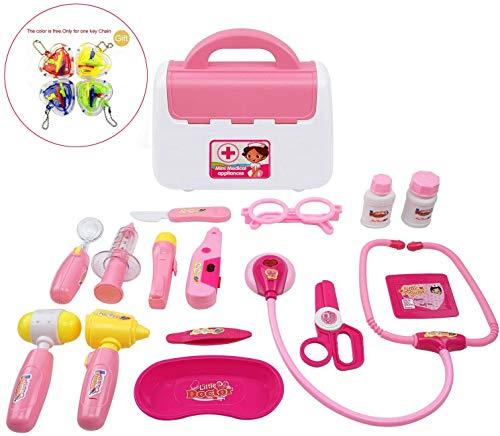 WoBoSen Doctora Juguetes, Caso Médico con Accesorios de Muñeca Juguetes Doctor Case 16 Piezas para Niños (Rosa)