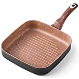 Ecowin 10 inch Nonstick Grill Pan for Stove Top, Deep Square Griddle Pan for Steak, Vegetable,...