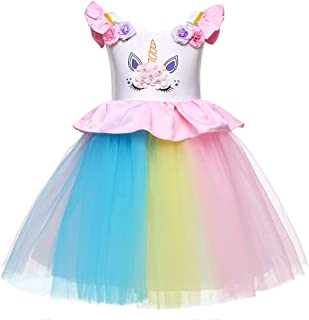 LZH Girls Unicorn Costume Dress Flower Princess Birthday Party Pageant Dress