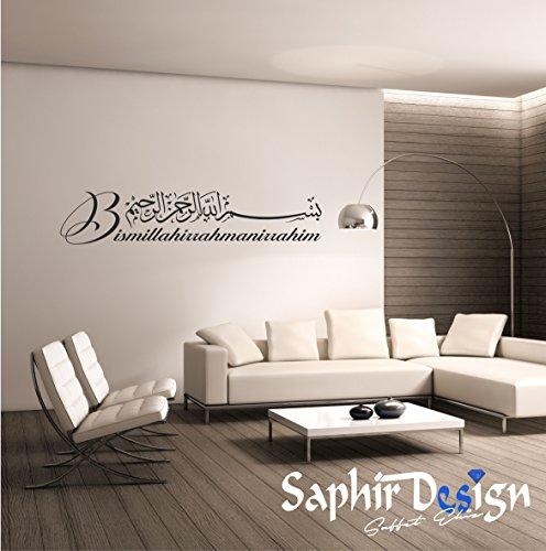 Saphir Design Wandtattoo M01.03 Besmele/Bismillahirrahmenirrahim in Türkisch/Arabisch (Schwarz Matt - 150x30 cm)
