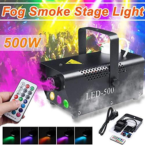 N/A rookmachine met LED-lampjes, 13 kleuren en strobe-effect, 500 W enorme mistgenerator, 1 kabelgebonden ontvanger en 2 draadloze afstandsbedieningen voor feestbruiloften