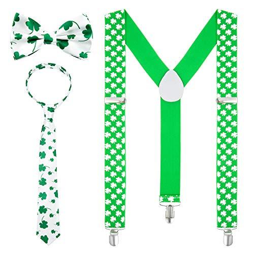 Czoele 3 Stücke Hosenträger St. Patricks Day, St. Patricks Day Krawatte,Shamrock Straps Shamrock-Krawatten Für Fasching, Fastnacht, Karneval, Parade, Motto-Party, Irish Pub