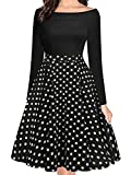 oxiuly Women's Vintage Polka Dot Slash Neck Long Sleeve Casual Pockets Swing Dress OX232 (M, Black dot 9)