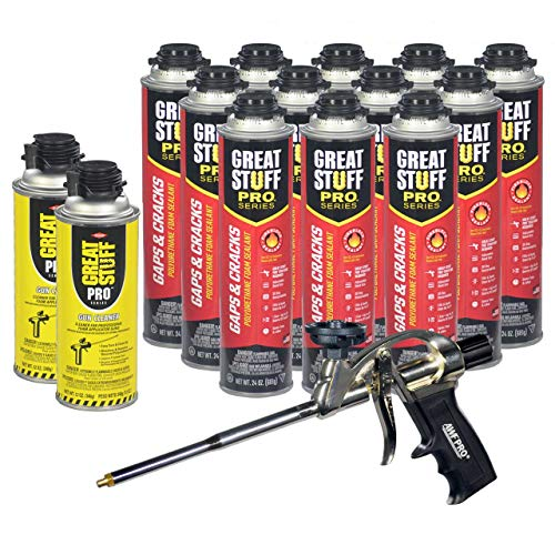 """GREAT STUFF PRO Gaps and Cracks - 24oz Fireblock Foam Insulation Sealant, Pack of 12. Closed Cell, Polyurethane Expanding Spray Foam. Seals & Insulates Gaps Up to 3"""". Applicator Gun, Cleaner Included"""