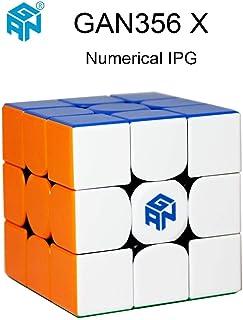 OJIN Ganspuzzle GAN356 X Cubo de Velocidad numérico de IPG 3x3 GAN 356 X Puzzle de Cubo mágico con una Bolsa de Cubo y un trípode de Cubo (Sin Etiqueta)