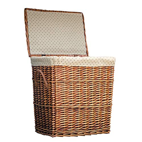 Lined large-capacity rattan basket, covered storage storage box, hand-woven rectangular laundry basket, essential home decoration at home (Color : Brown, Size : S)