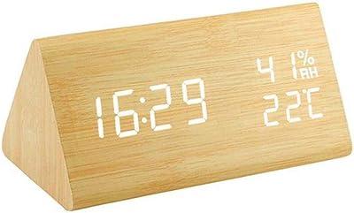 Gearmax® LED reloj despertador Reloj despertador de madera con la ...