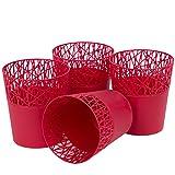 myBoxshop 4 macetas rojas de 1,6 litros, 14 cm de diámetro