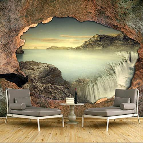 3D Stereo Photo Wallpaper Cascada de pared de piedra Naturaleza Paisaje Mural Sala de estar Dormitorio Decoración del hogar Pegatinas de PVC-200x140cm