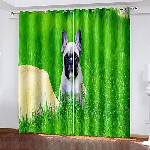 FACWAWF El Aislamiento Térmico con Patrón De Perro Impreso En 3D Se Tuerce Y Gira, Adecuado para Cortinas De Sala De Estar Y Dormitorio 150x166cm(2pcs)