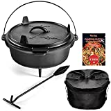 Uno Casa Cast Iron Camping Dutch Oven - 6 Quart Pre-Seasoned Camping Cookware Pot With Lid - Lid...