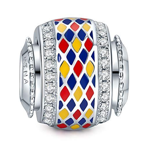 NINAQUEEN Charm für Pandora Charms Armband Bunt Geschenk für Frauen Silber 925 Zirkonia Antibakterielle Eigenschaften Schmuck Damen mit Schmuckkasten