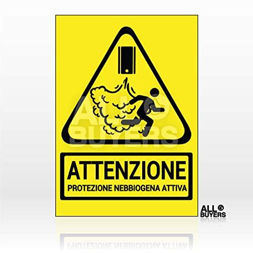 Cartello Adesivo Segnaletica Protezione Nebbiogena Attiva - in PVC Impermeabile Formato A5- Sicurezza e Allerta, Sistemi di sicurezza attivi, Attenzione Cartello