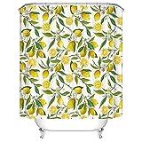 Duschvorhang 180X200 Gelbe Zitrone Duschvorhang Anti-Schimmel & Wasserabweisend Shower Curtain, Duschvorhänge mit 12 Haken,Duschvorhang Textil Waschbar,Polyester