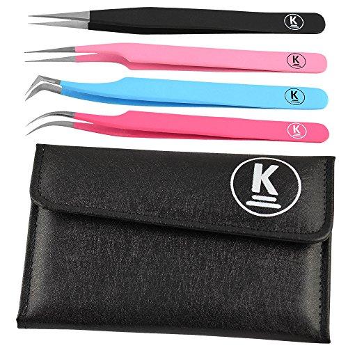 K-Pro Pinzetten Set für Wimpernverlängerung, falsche Wimpern & Kosmetik, im Etui