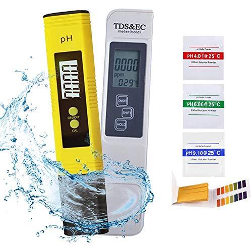 UMYMAYDO1 PH Messgerät 4 in 1 Set Pool Tester pH TDS EC Temperatur Wasserqualität Tester für Trinkwasser/Schwimmbad/Pools/Labor, Leitwertmessgerät mit LCD Anzeige