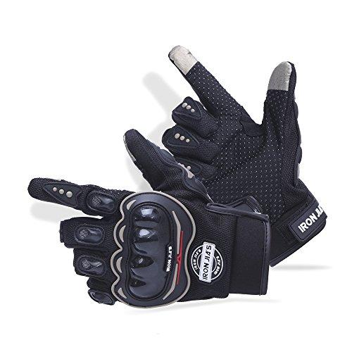 IRON JIA'S Guantes de motos motocicleta para carreras todo terreno, guantes de moto para pantallas táctiles resistentes a caídas (XL, Black)