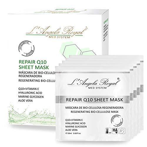 L'Angela Royal Mascarilla Regeneradora Repair Sheet Mask, Mascarilla facial BIO- Celulosa, Q10+Vitamina E, Aloe Vera, Hidratante, Disminuye la Formación de las Arrugas para la cara, 5uds.