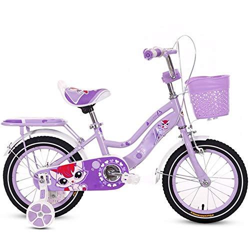 YUMEIGE Kinderfietsen Kinderfiets, kinderfiets trainingswiel 12/14/16/18 inch jongens en meisjes fietsen, geschikt voor kinderen van 5-9 roze, licht paars EASY ASSEMBLY