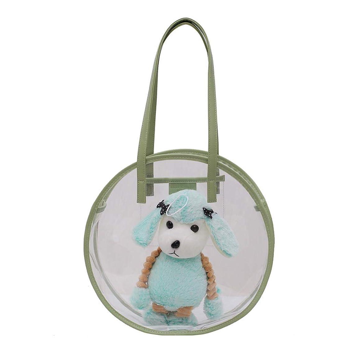 上級燃料側面かわいいファッション 犬の特徴 透明防水 ビーチバッグ ポータブル 透明化粧品バッグ 旅行用メイクポーチ ジッパー 防水 トートバッグ 取り外し可能 調整 33X9X33cm 3色