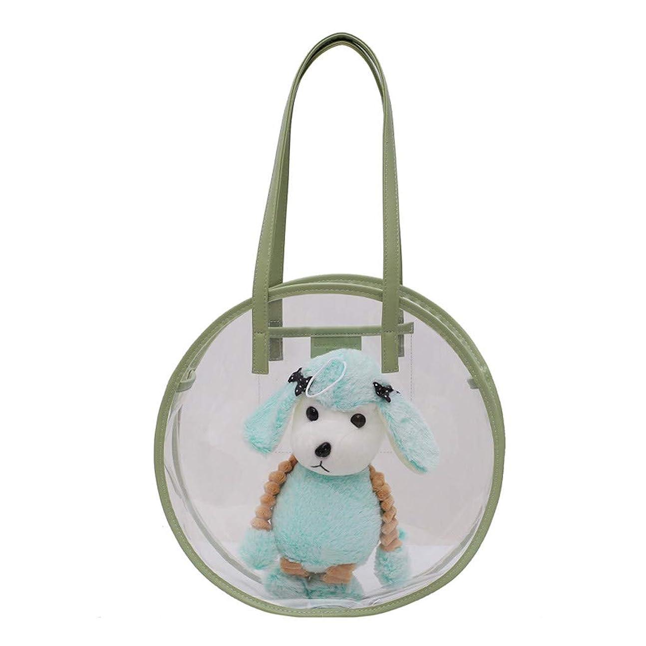 不注意改善征服するかわいいファッション 犬の特徴 透明防水 ビーチバッグ ポータブル 透明化粧品バッグ 旅行用メイクポーチ ジッパー 防水 トートバッグ 取り外し可能 調整 33X9X33cm 3色