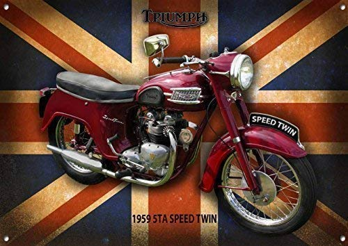 VINTAGE SIGN DESIGNS Triumph 5TA Speed Twin Metallschild Emailliert Finish - 285MM x 410MM x 1MM