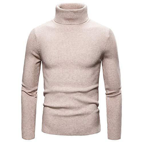 Men Sweater Men Knitwear Boutique High-Neck Comfortable Long Sleeve Slim Fit Fashion Casual Simple Classic New Men Tops J-Khaki L