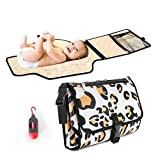 Portable Diaper Changing Pad, Portable Changing pad for Newborn boy and Girl- Baby Changing Pad with Smart Wipes Pocket – Waterproof Travel Changing Station kit - Baby Gift by Kopi Baby(Leopard Print)