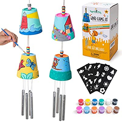 ROMI'S WAY 2-Pack Make Your Own Wind Chime Kit - Larger Bells, Stencils and Beads, Arts and Crafts for Kids Ages 8-12, 4-8 - DIY Craft Kit for Girls & Boys - Unique Art Gifts for Christmas, Birthday by MOONBUZZ LLC